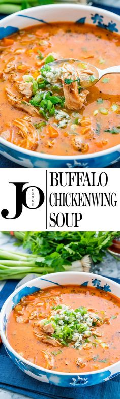 This Buffalo Chicken Wing Soup tastes just like buffalo chicken wings but in a creamy delicious soup. Bold flavors, easy to whip up, it will blow your mind! www.jocooks.com #buffalochicken