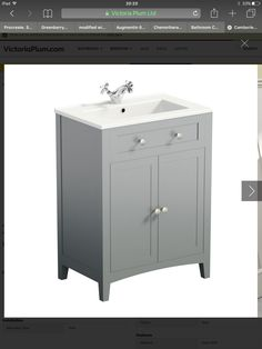 The Bath Co. Camberley satin grey vanity unit with traditional basin mixer Bathroom Sink Vanity Units, Grey Vanity Unit, Basin Vanity Unit, Bathroom Island, White Vanity, Traditional Bathroom Furniture, Grey Bathroom Furniture, Bathroom Interior, Shower Tile Designs