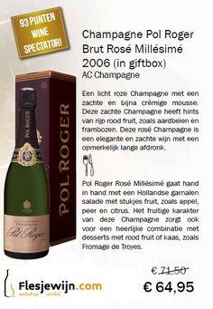 Deze Pol Roger Champagne Brut Millésimé 2006 rosé champagne heeft een fraaie diep roze kleur. In de neus hints van aardbeien, frambozen en abrikoos. Elegante champagne met lichte en crèmige mousse. Verkwikkend met een schijnbaar eindeloze afdronk. Pol Roger wordt door top wijnkenners vaak gezien als de beste aperitief Champagne. (Actie tm 31-12-15) http://www.flesjewijn.com/wijnen/pol+roger+brut+rose+champagne+7571