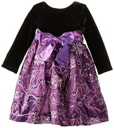 Nannette Baby-Girls Infant 2 Piece Soutache Sequin Taffeta Dress with Panty, Purple, 18 Months  - Click image twice for more info - See a larger selection of play wear dresses at http://girlsdressgallery.com/product-category/play-wear-dresses/- kids, toddler, kids dresses, little girls, dress, casual dress, little girls fashion, gift ideas