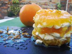 Milhoja de naranja y queso crema #postre #fruta #food