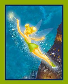 Thomas Kinkade Disney Dreams Collection - TinkerBell Fleece Panel