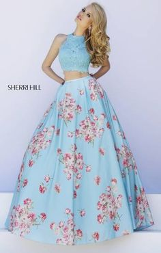 Blue cropped sweater top with blue ball gown covered with pink rose bouquets. Luscious!