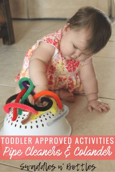 Toddler Approved Activities- Pipe cleaners and Colander Outdoor Activities For Toddlers, Games For Toddlers, Sensory Activities, Infant Activities, Toddler Games, Learning Activities, Children Activities, Toddler Fun, Summer Activities