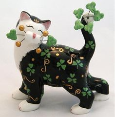Whimsiclay Ceramic Cat Figurines by Amy Lacombe