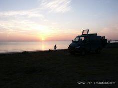 Campsite with our Mercedes Iglhaut Sprinter camper...... Sunset Khor Fakkan UAE 2003