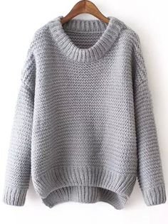 Grey Round Neck Dip Hem Knit Sweater -SheIn(abaday)