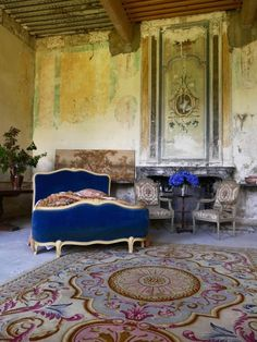 The original 18th-century dining room has been transformed into a temporary living space for visitors. Keeping with the Waters' philosophy of sustainability and authenticity, the room's 18th-century furnishings have all been found at local brocantes.