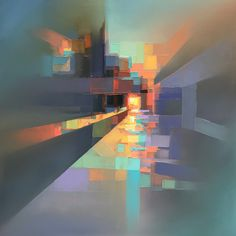 Landscapes by Jason Anderson Blend Precise Pixelation and Ha. - Landscapes by Jason Anderson Blend Precise Pixelation and Hazy Abstraction Urban Landscape, Landscape Art, Landscape Paintings, Abstract Styles, Abstract Art, Abstract Paintings, Art Paintings, Abstract Portrait, Portrait Paintings