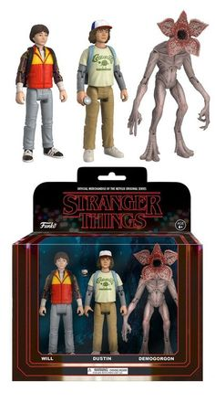 From stranger things, will, Dustin, and a Demogorgon as an action figure Each figure stands 3 ¾ tall and are fully articulated. Look for the other and other Funko stranger things figures to collect them all! Serie Stranger Things, Stranger Things Aesthetic, Stranger Things Season 3, Stranger Things Netflix, Action Toys, Action Figures, New Toys, Vinyl Figures, My Idol