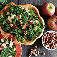 Fuji Apple Kale Salad with Maple Spiced Hazelnuts by Dorothy