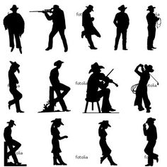 Some of these cowboy silhouettes might be cute for the bulletin board