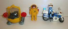 Lot of Playmobil Items - Deep Diver 03 Figure, Police Motorcycle Policeman - Pod #PLAYMOBIL