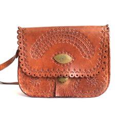 85679ad0b95 Vintage 70s Tooled Leather Saddle Bag, Vintage Boho Tooled Leather Bag,  Cognac Messenger Bag