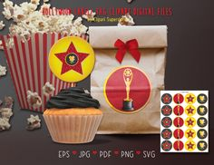 Hollywood Cupcake Toppers Tags Stickers SVG EPS Vector Instant Download Printable Digital File by clipartsuperstore on Etsy Digital Stamps, Digital Scrapbooking, Silhouette Cameo Free, Cupcakes, Party Items, Stickers, Eps Vector, Embroidery Kits, Hollywood