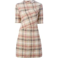 Carven Plaid Fitted Dress ($510) ❤ liked on Polyvore featuring dresses, tight pink dress, fitted dresses, pink dress, tartan dress and tight dresses