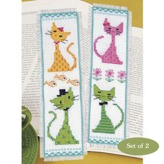 Colorful Cats Bookmarks - Cross Stitch, Needlepoint, Embroidery Kits – Tools and Supplies: