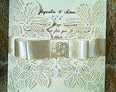 "Elegant Laser Cut Vintage Ivory Flora & Satin Wedding Invitation Sample ""Lucretia"""
