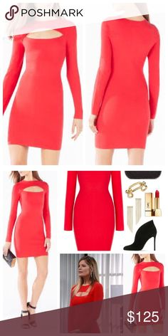 """BCBG """"Fyona"""" cut out dress NWT Gorgeous, lipstick red color. Body-con, thick, soft knit material (Not sheer at all). Perfect for the season! Obsessed with this one ladies! Make me a reasonable offer! NO TRADES BCBGMaxAzria Dresses"""
