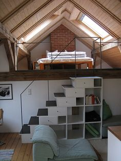 **SOMETHING LIKE THESE STAIRS/ BOOKCASE, EXCEPT NARROWER, FOR LOFT!!**