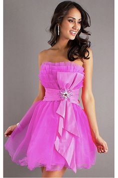 Elegant Organza Dropped Strapless Watermelon Short Prom Dresses