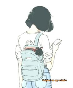 The girl with a cat modern art illustration manga art drawing sketch inspiration anime art Art Manga, Art Anime, Anime Art Girl, Manga Girl Drawing, Cute Girl Drawing, Anime Girls, Manga Anime, Illustration Manga, Simple Illustration