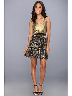 Tbags Los Angeles Waisted Tank Dress w/ Metallic Gold Top & Sequin Skirt