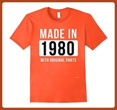 46b754d21 Mens Made in 1980 T Shirt Born in 1980 Shirt Birthday Gifts July 3XL Orange  -