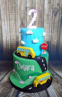 Wheels on the Bus cake, Schoolbus cake, Yellow school bus themed cake.