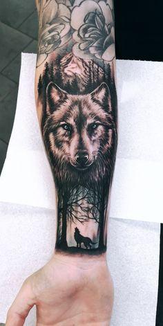 Wolf Tattoos 29035 My fresh tattoo by Unique Half Sleeve Tattoos, Half Sleeve Tattoos Designs, Best Sleeve Tattoos, Hand Tattoos, Tatoos, Wolf Tattoo Forearm, Wolf Tattoo Sleeve, Forearm Tattoo Design, Mom Tattoo Designs