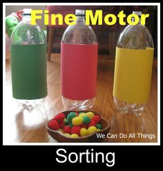 Another simple, inexpensive idea from we can do all things fine motor sorting