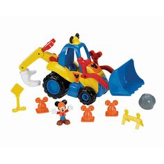 """Fisher-Price Mickey Mouse Clubhouse Mickey's Mouska Dozer - Fisher-Price - Toys """"R"""" Us Mickey Mouse Toys, Mickey Mouse Characters, Mickey Mouse Outfit, Mickey Mouse Clubhouse, Baby Disney, Disney Mickey, Fisher Price Toys, Construction Party, Construction Worker"""