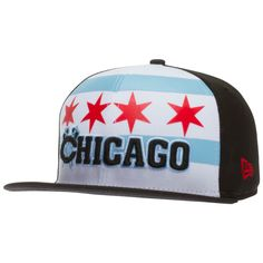 509b8212abf Chicago Blackhawks Black and White Chicago Flag Tomahawks Logo Snapback Hat  by New Era  Chicago