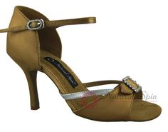 Natural Spin Signature Latin Shoes(Open Toe, Adjustable):  H1110-07a_GoldES