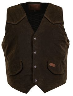 Outback Trading Co. Cliffdweller Vest Mens Bronze 100% Cotton 12 Oz Oilskin