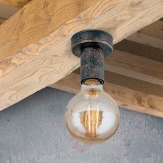 Das Leuchtmittel steht wieder im Mittelpunkt. Vintage-Deckenleuchte Rati mit Filament-LED-Lampe. Appliques Murales Vintage, Led Lampe, Looks Vintage, Light Bulb, Lights, Metal, Interior, House, Home Decor