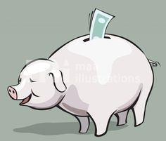 Illustration Of Piggy Bank And Currency