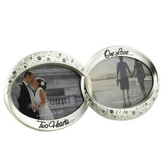 Dupla fényképkeret idézettel, ezüst színű ~ Ezüstözött, kristályokkal és indamintával díszített dupla fényképkeret, egyedi ajándék esküvőre. #esküvő