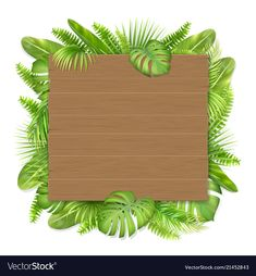 Wooden sign with tropical leaves Royalty Free Vector Image Frame Border Design, Page Borders Design, Deco Jungle, Certificate Design Template, Powerpoint Background Design, Jungle Theme Birthday, Happy Birthday Flower, School Frame, Instagram Frame