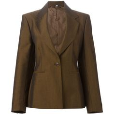 Romeo Gigli Vintage Classic Blazer ($317) ❤ liked on Polyvore featuring outerwear, jackets, blazers, brown, vintage blazer, brown blazer, long sleeve blazer, long sleeve jacket and brown jacket