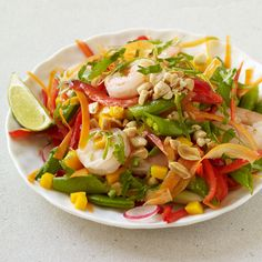 Malaysian Shrimp and Vegetable Salad with Mango, Peanut and Lime Recipe | Weight Watchers