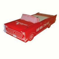 """Classic car bank made from 20 pt., high density white poster board, and shipped unassembled. USA made. Liquid laminated for a high gloss finish. Quick turn, just ask. An ideal promotional item for any auto enthusiast!.  Complies with CPSIA.  1.75"""" L x 8.75"""" W x 3.75"""" H"""