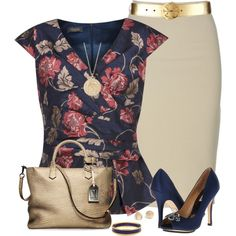 Navy Floral Top by daiscat on Polyvore featuring moda, Alexon, Badgley Mischka, Reed Krakoff, Halcyon Days, Minor Obsessions, Blue Nile and Tory Burch