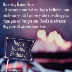 A perfect way to send happy belated birthday wishes to your loved one. Get free belated birthday wishes, images, and cards with name and photo. Happy Birthday Son Images, Happy Birthday Lover, Happy Birthday Cake Writing, Belated Happy Birthday Wishes, Birthday Wishes For Uncle, Birthday Wishes With Name, Happy Birthday Wishes Photos, Happy Birthday Cake Photo, Free Birthday