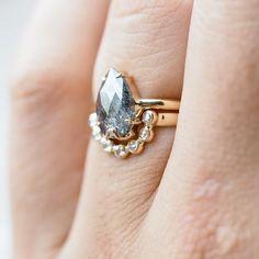 Dark Desires // Alternative Diamond Engagement Ring Set
