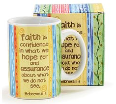 <br>Ceramic tall mug with a decal design: faith message and stripes.<br><br>Holds set of Faith Messages, Balloons And More, Balloon Bouquet, Microwave, Dishwasher, Decal, Stripes, Ceramics