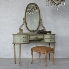 Attractive Louis XVI Style Vintage Vanity in Sea Green Crackle $1,865.00 #thebellacottage #shabbychic #eloquence