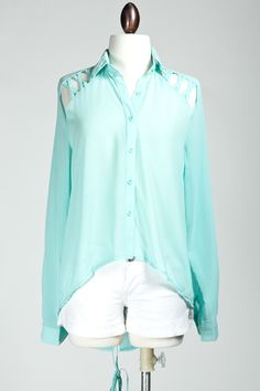 Laced Up Blouse-Light Blue