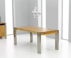 Soho 180cm Solid Oak and Metal Extending Dining Table. #contemporaryfurniture