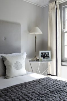 gorgeous grey bedroom and buttoned/tufted headboard - taylor howes